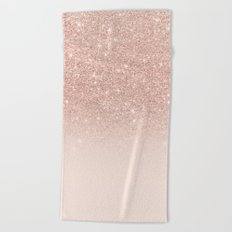 Rose gold faux glitter pink ombre color block Beach Towel