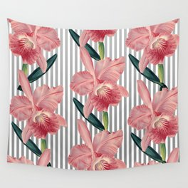Pink Orchids And Grey Pinstripes Wall Tapestry
