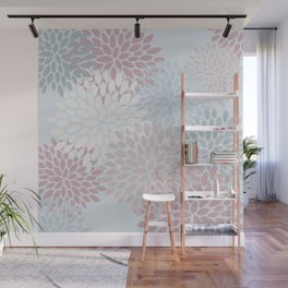 Floral Pattern, Duck Egg Blue, Teal and Pink Wall Mural