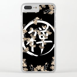 Blossoming Enso circle and Zen hieroglyph #3 Clear iPhone Case