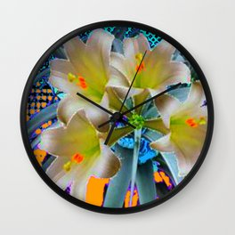 EASTER LILIES FLOWER  BLUE-GOLD FLORAL Wall Clock
