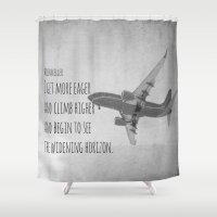 helen Shower Curtains featuring Helen Keller Horizon by KimberosePhotography