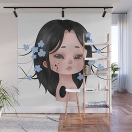 Looming Darkness: Forget-Me-Not - Girl with Flowers Wall Mural