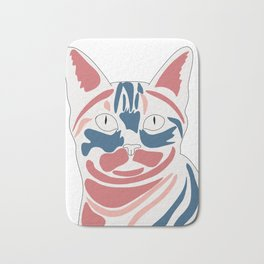 A cat's face if colors are not natural Bath Mat