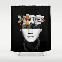 the godfather Shower Curtains featuring Godfather Mix 2 black by Marko Köppe