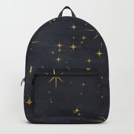 Gold Stars Black Ink Night Sky Magical Mid Century Pattern Backpack