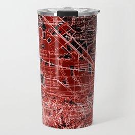 loa Angeles map, year 1966, red art Travel Mug