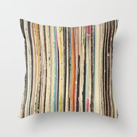 cassia beck Throw Pillows featuring Record Collection by Cassia Beck