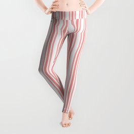 Trendy Large Coral Rose Pastel Coral French Mattress Ticking Double Stripes Leggings