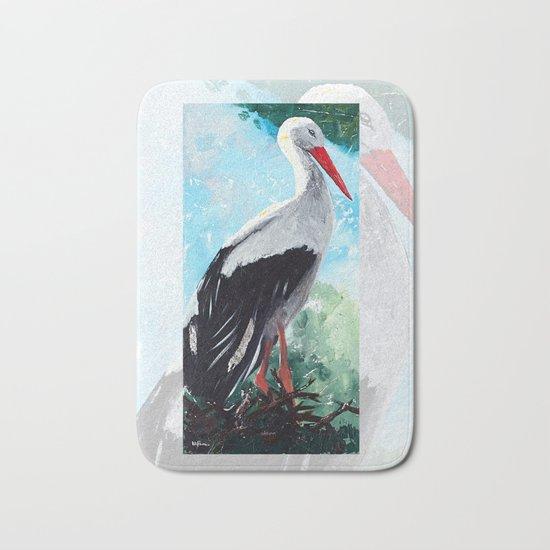 Animal - The beautiful stork - by LiliFlore Bath Mat