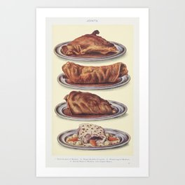 Joints Roast Haunch of Mutton, Roast Saddle of Lamb, Roast Leg of Mutton, and Boiled Neck of Mutton with Caper Sauce, from Mrs. Beeton's Book of Household Management Art Print