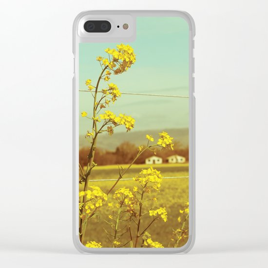Spring Breeze (Mustard Plants and Cottage) Clear iPhone Case
