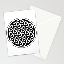 flower of life - simple black and white geometric symbol Stationery Cards