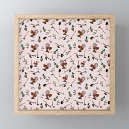 Farm Silhouette Pattern Design Framed Mini Art Print