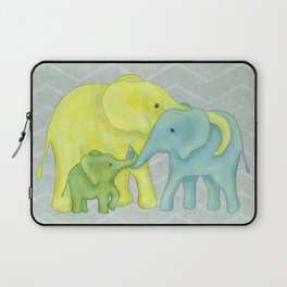 Elephant Family of Three in Yellow, Blue and Green Laptop Sleeve