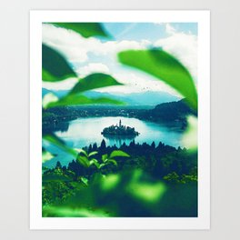 Lake Bled, Bled, Slovenia in watercolor Art Print