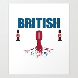 British T-Shirt. Costume For Grandparents From Grandkids. Art Print