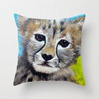 cheetah Throw Pillows featuring Cheetah by A Calcines