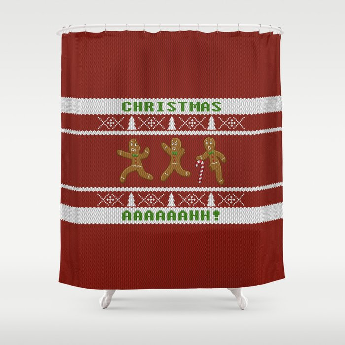 Ugly Christmas Sweater Scared Gingerbread Men Red Shower Curtain By Csforest
