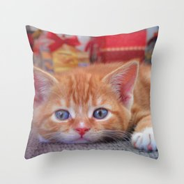 Cleo the Christmas Cat Throw Pillow