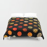 drum Duvet Covers featuring Fire Drum by M.D. Becker