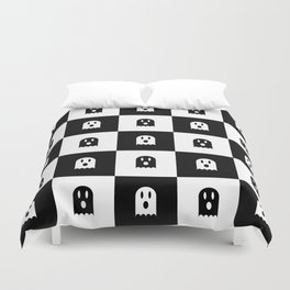 Cute Scary Ghost Checkered Pattern Duvet Cover