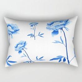 one blue peony painting Rectangular Pillow