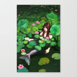 Mermaid Among Lillies Canvas Print