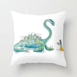 Loch Ness Monster Friend Throw Pillow