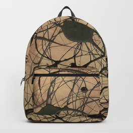Pollock Inspired Abstract Black On Beige Backpack