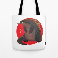godzilla Tote Bags featuring GODZILLA by olivier silven