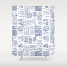 George Washington's Letters // Blue Ink Shower Curtain