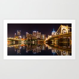 Skyline of the city of Pittsburgh at night Art Print