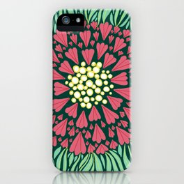 Pink and green florals iPhone Case