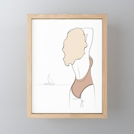 Line Art Drawing Woman on the beach  Framed Mini Art Print