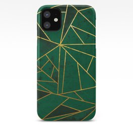 Emerald Green Modern Geometric Gold Lines iPhone Case