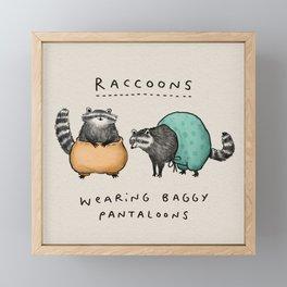 Raccoons Wearing Baggy Pantaloons Framed Mini Art Print