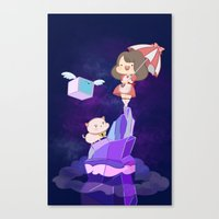 bee and puppycat Canvas Prints featuring Bee and  Puppycat by drawnbyhanna