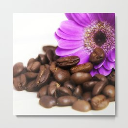 Coffee with Flower Metal Print
