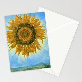 Sunflower Sunrise over the Alpine Mountains landscape painting by D. Tanning Stationery Cards