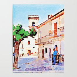 Borrello: man tree and bell tower Poster