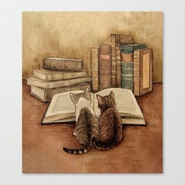 Kittens Reading A Book Canvas Print