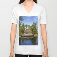 michigan V-neck T-shirts featuring Michigan Cottage by davehare