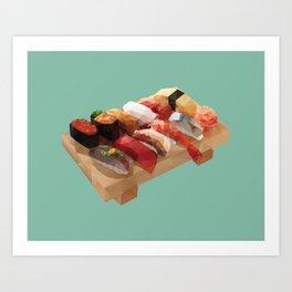 Nigiri Sushi Platter Polygon Art Art Print