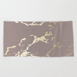 Kintsugi Ceramic Gold on Red Earth Beach Towel