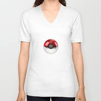 pokeball V-neck T-shirts featuring POKEBALL by Graphic Craft