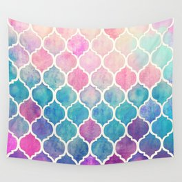 Rainbow Pastel Watercolor Moroccan Pattern Wall Tapestry