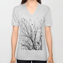 Black white tree branch bird nature pattern Unisex V-Neck