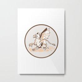 Angry Griiffin Side Circle Cartoon Metal Print