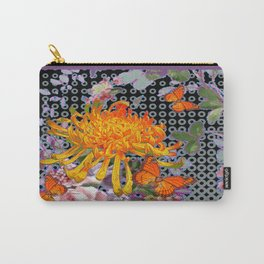 Monarch Butterflies Yellow Spider Mum Asian Floral Pattern Carry-All Pouch